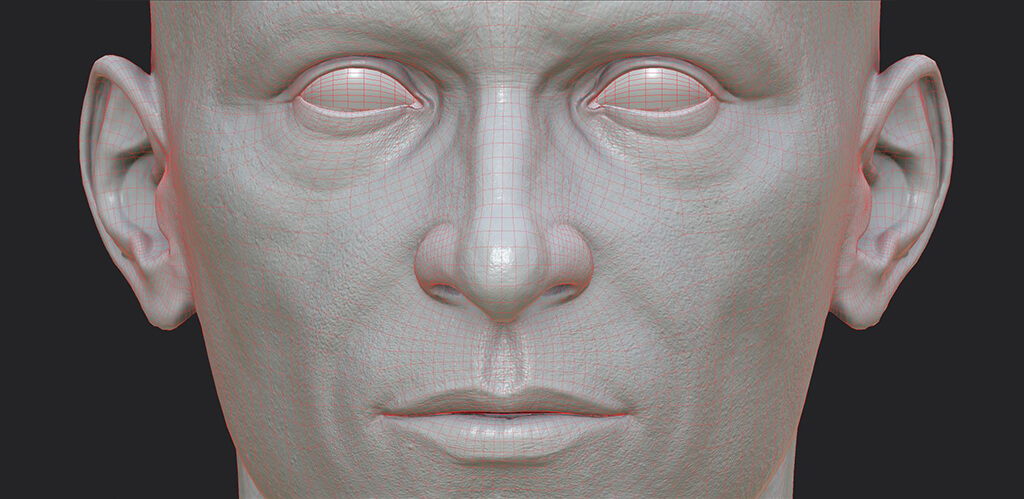 Human face with low polygonal count but high level of detail, for real time rendering