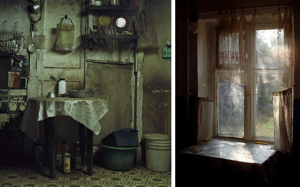 Picture of a poor-looking kitchen and a window with a curtain.