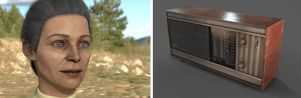 Texturing of a character and old radio texturized