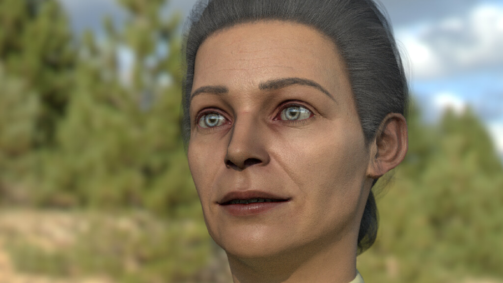 Primo piano di un character 3d femminile, di circa 50 anni
