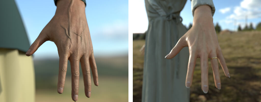 Two 3d hands in comparison: on the left, the hand of a woman in her 50s; on the right, the hand of a young girl wearing a wedding ring.