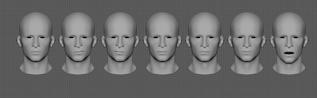 3d blendshapes man face rigging vr