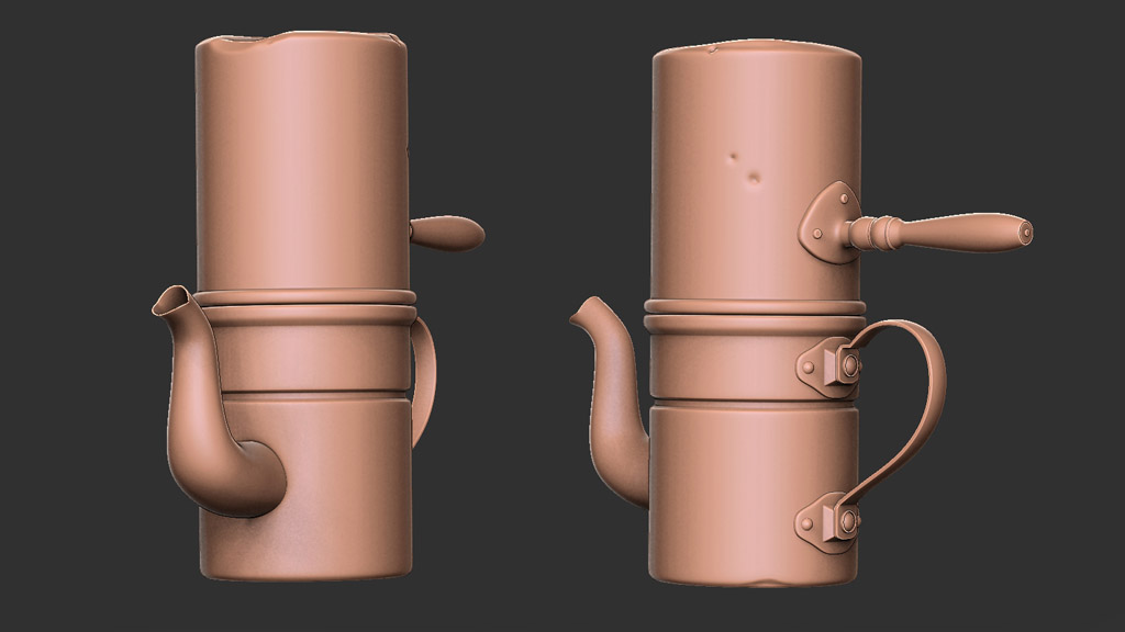 modeling Neapolitan coffee pot 3d render