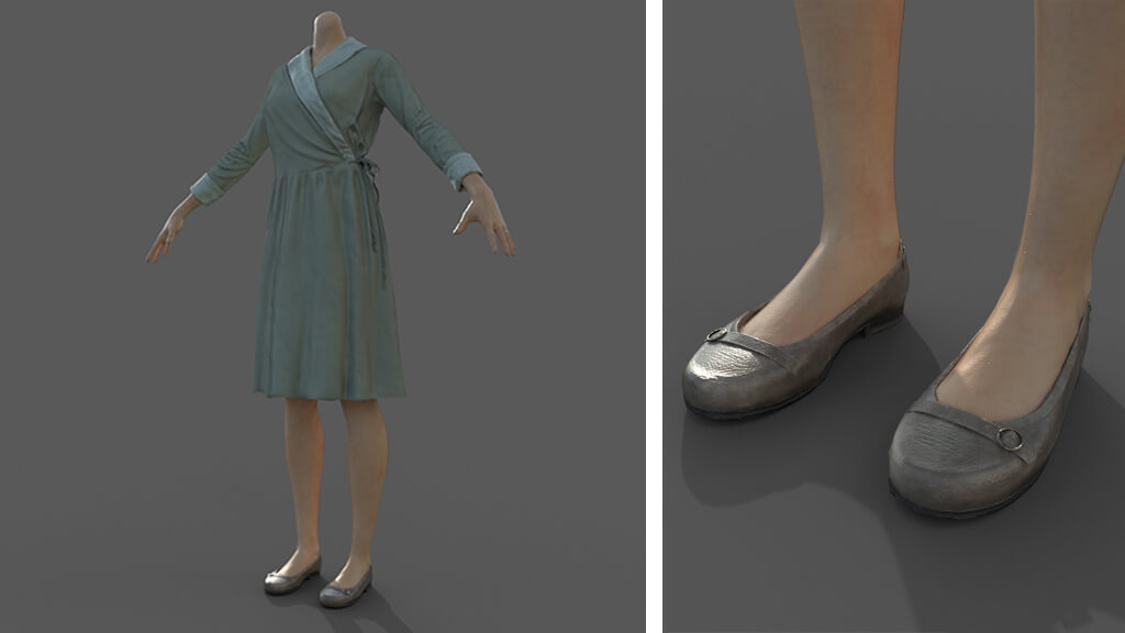 texturing vintage woman clothes and shoes
