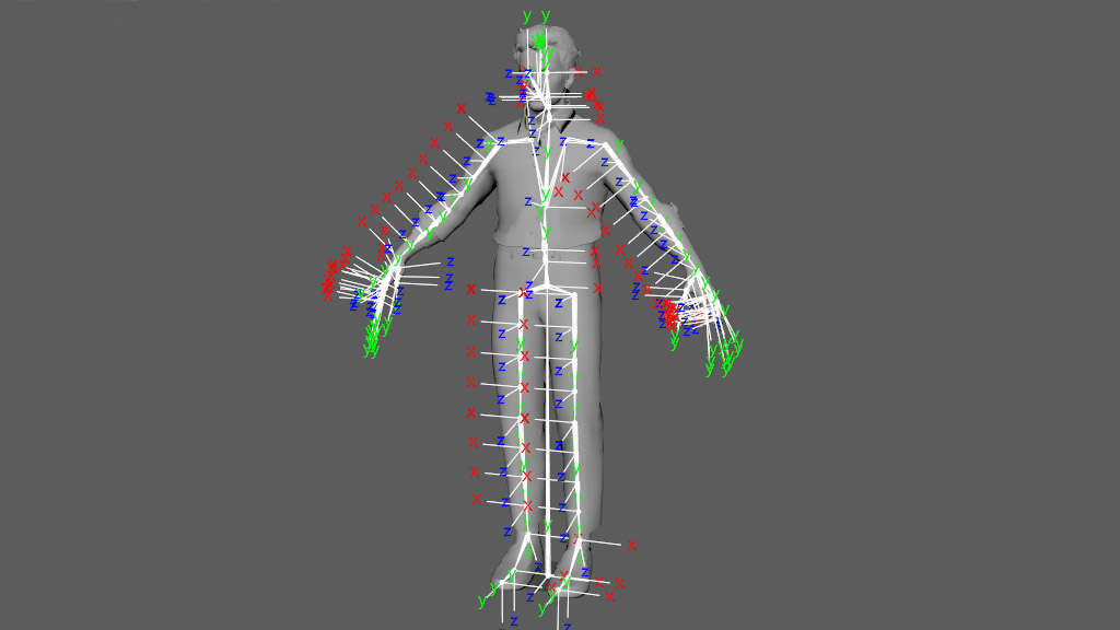 rigging 3d orientation of joint in human body for virtual reality