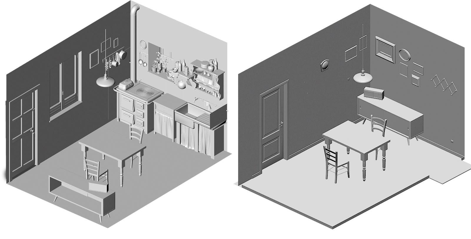 Environment interno casa vintage scenografia 3d