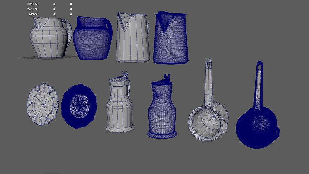 oggetti di casa high-poly e low-poly esempi