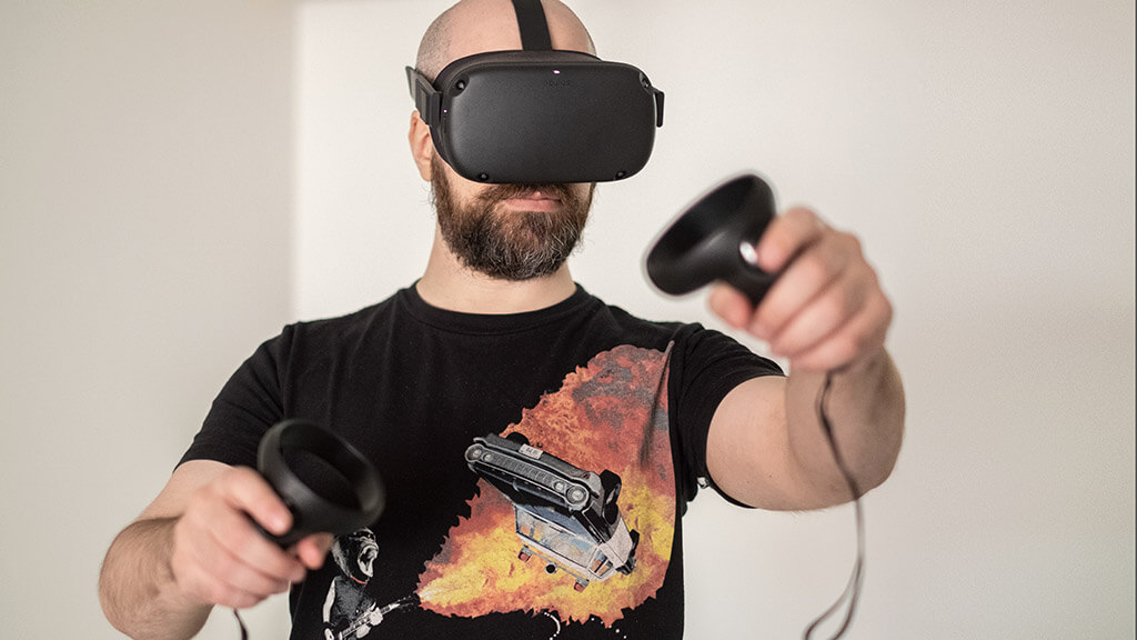 man try vr headset vive gamer virtual reality