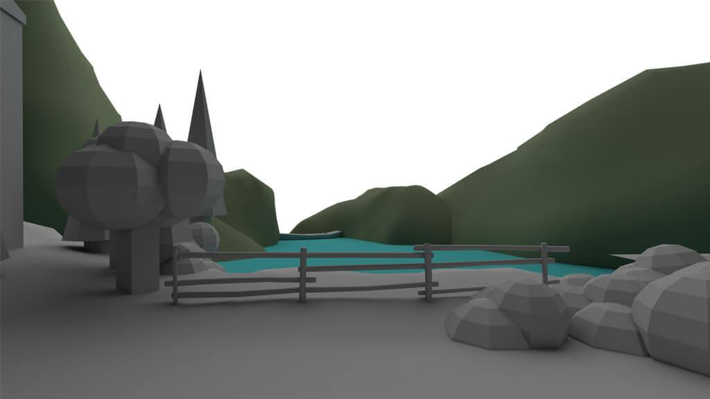 esempio block-out lago render 3d maya