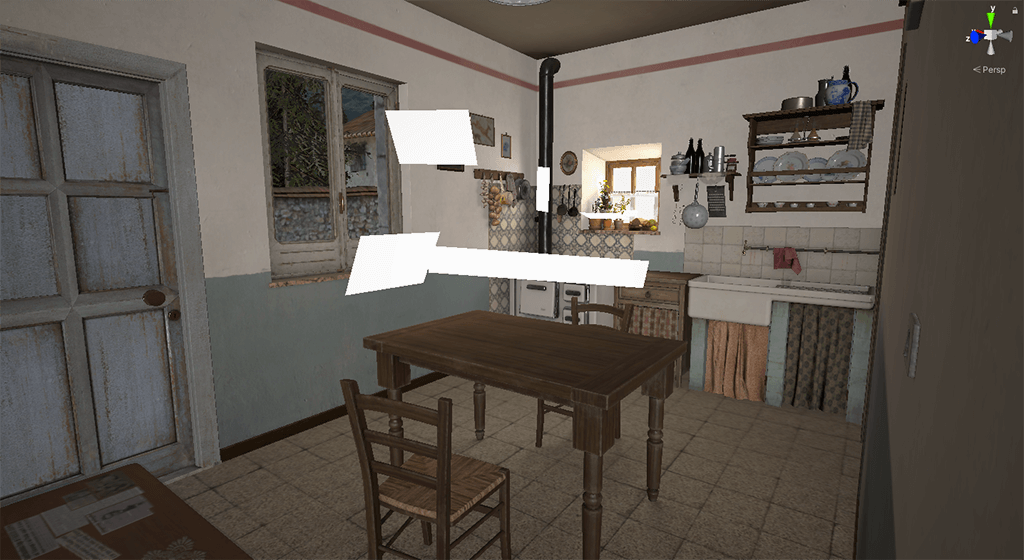 area-light 3d render lighting illuminazione interno cucina vintage