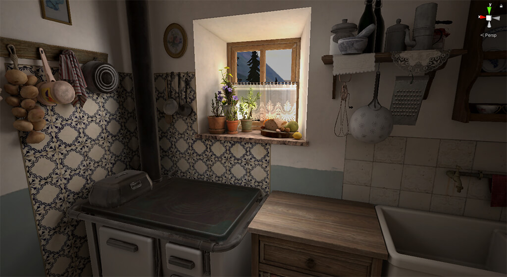 3d render virtual reality interior kitchen vintage light window