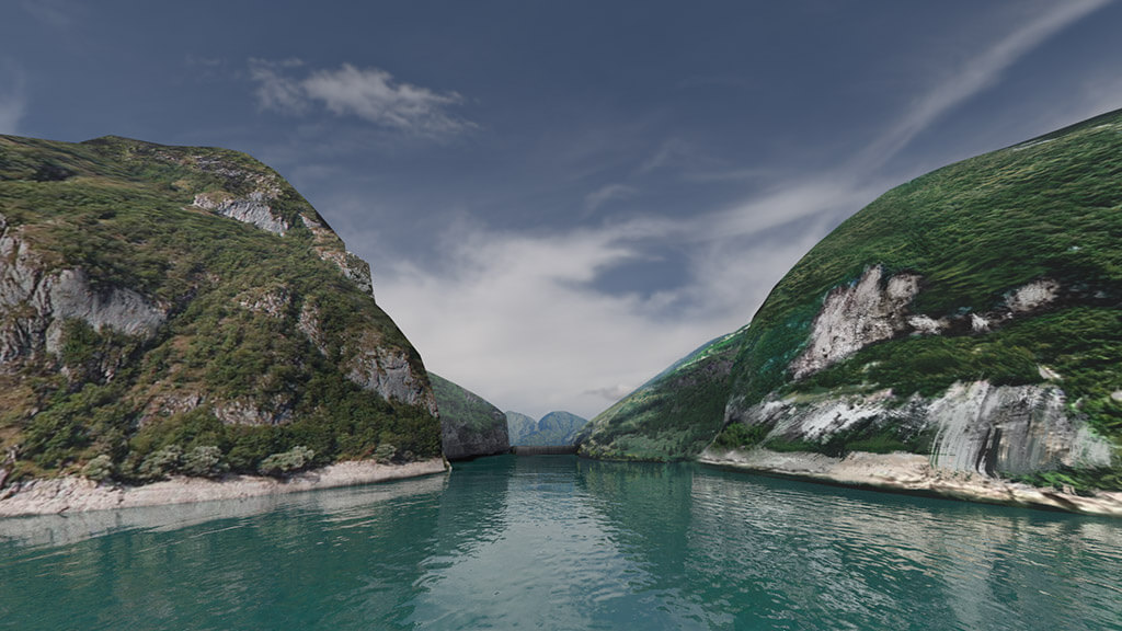3d render lake mountains vajont for virtual reality
