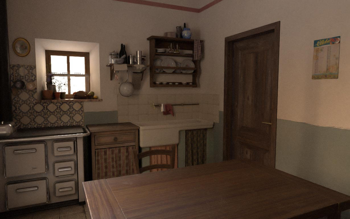 vintage kitchen for virtual reality texturing environment 3d interior