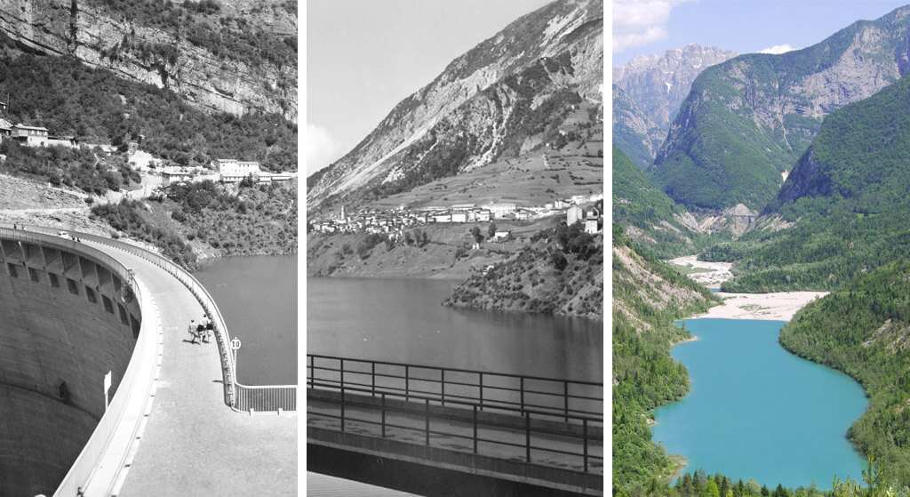 the lake of Vajont before and after the disaster