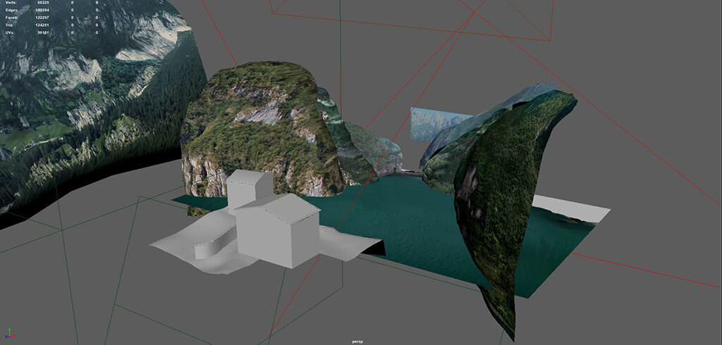 3d z-axis profiles of mountains in Maya for VR