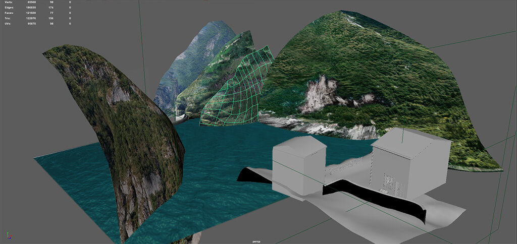 3d mountains in Maya for VR topology of mesh