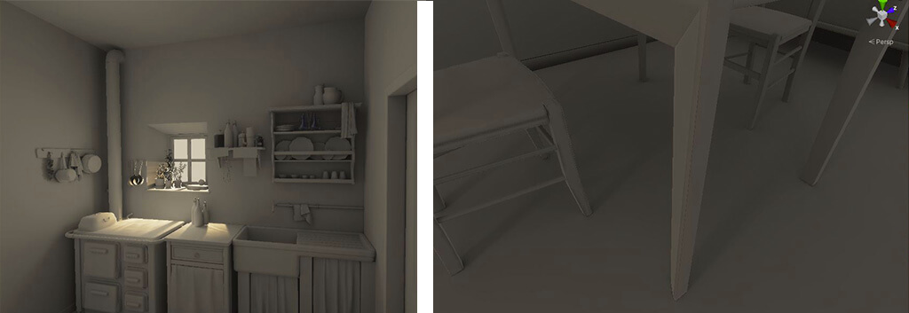 Bakery lighting interno cucina vintage render 3d realtà virtuale finestra tavolo
